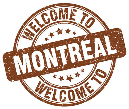 montreal: welcome to Montreal brown round vintage stamp Illustration