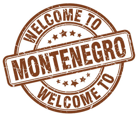 montenegro: welcome to Montenegro brown round vintage stamp