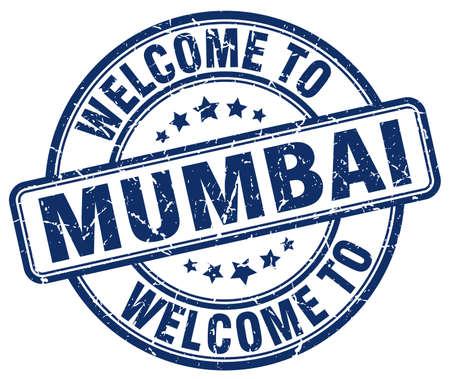mumbai: welcome to Mumbai blue round vintage stamp