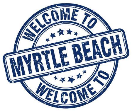 myrtle beach: welcome to Myrtle Beach blue round vintage stamp