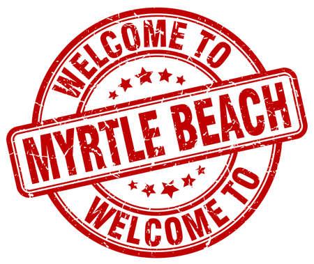 myrtle: welcome to Myrtle Beach red round vintage stamp