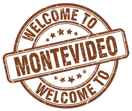montevideo: welcome to Montevideo brown round vintage stamp