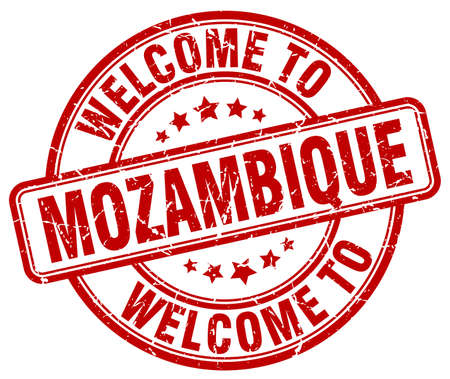 mozambique: welcome to Mozambique red round vintage stamp Illustration