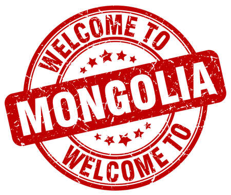 mongolia: welcome to Mongolia red round vintage stamp