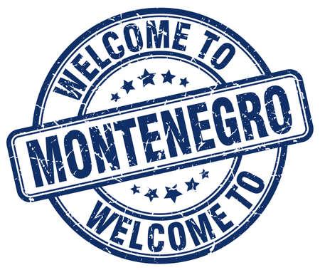 montenegro: welcome to Montenegro blue round vintage stamp Illustration