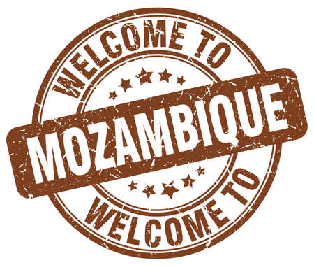 mozambique: welcome to Mozambique brown round vintage stamp Illustration