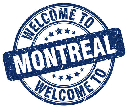 montreal: welcome to Montreal blue round vintage stamp