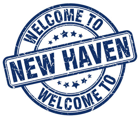 haven: welcome to New Haven blue round vintage stamp