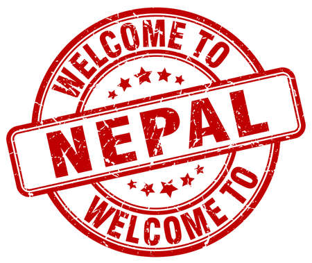 nepal: welcome to Nepal red round vintage stamp
