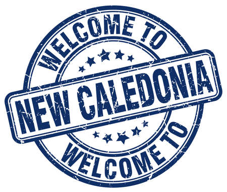 new caledonia: welcome to New Caledonia blue round vintage stamp