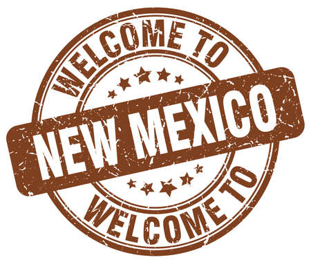 new mexico: welcome to New Mexico brown round vintage stamp Illustration