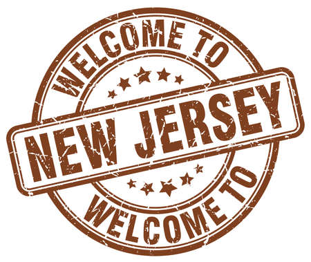 new jersey: welcome to New Jersey brown round vintage stamp