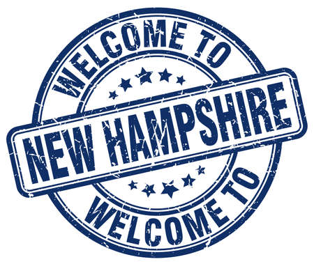 hampshire: welcome to New Hampshire blue round vintage stamp