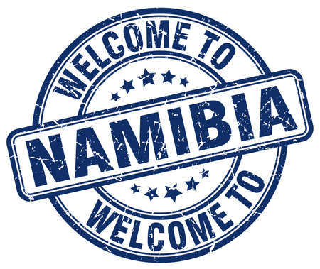 namibia: welcome to Namibia blue round vintage stamp Illustration
