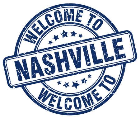 nashville: welcome to Nashville blue round vintage stamp Illustration