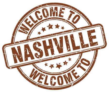 nashville: welcome to Nashville brown round vintage stamp