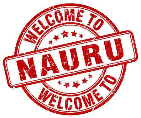 nauru: welcome to Nauru red round vintage stamp