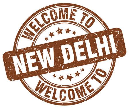 new delhi: welcome to New Delhi brown round vintage stamp