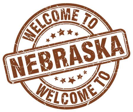nebraska: welcome to Nebraska brown round vintage stamp