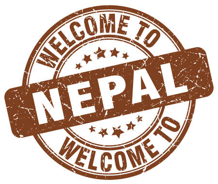 nepal: welcome to Nepal brown round vintage stamp Illustration