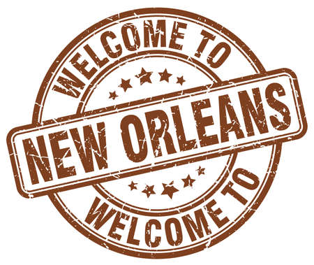 new orleans: welcome to New Orleans brown round vintage stamp