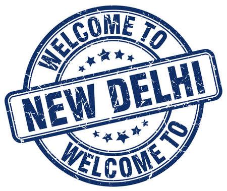new delhi: welcome to New Delhi blue round vintage stamp Illustration