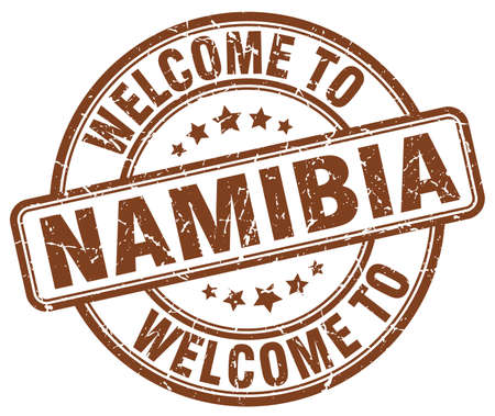 namibia: welcome to Namibia brown round vintage stamp