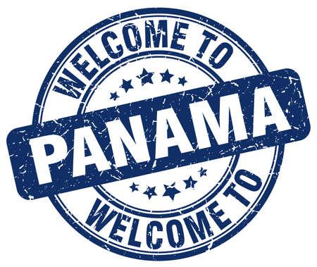 panama: welcome to Panama blue round vintage stamp Illustration
