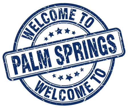 palm springs: welcome to Palm Springs blue round vintage stamp