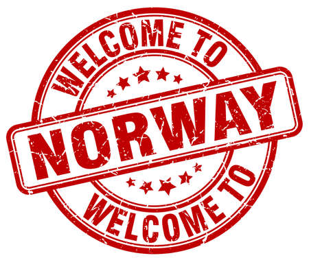 norway: welcome to Norway red round vintage stamp