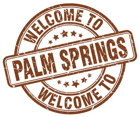 palm springs: welcome to Palm Springs brown round vintage stamp Illustration