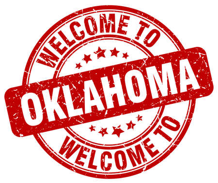 oklahoma: welcome to Oklahoma red round vintage stamp Illustration