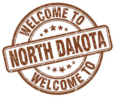 north dakota: welcome to North Dakota brown round vintage stamp Illustration