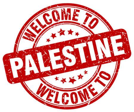 palestine: welcome to Palestine red round vintage stamp