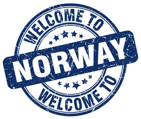 norway: welcome to Norway blue round vintage stamp