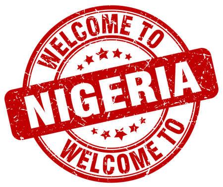 nigeria: welcome to Nigeria red round vintage stamp