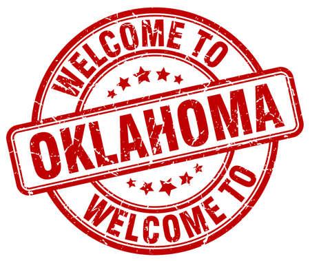 oklahoma: welcome to Oklahoma red round vintage stamp Illustration