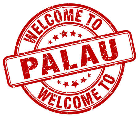 palau: welcome to Palau red round vintage stamp Illustration