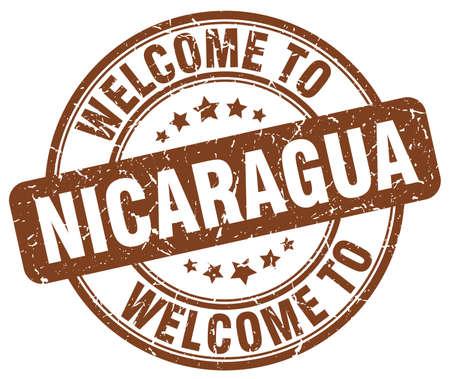 nicaragua: welcome to Nicaragua brown round vintage stamp Illustration