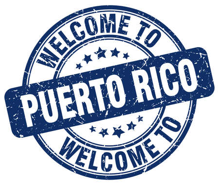 puerto rico: welcome to Puerto Rico blue round vintage stamp