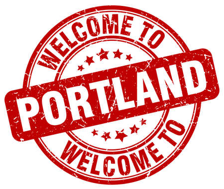 portland: welcome to Portland red round vintage stamp
