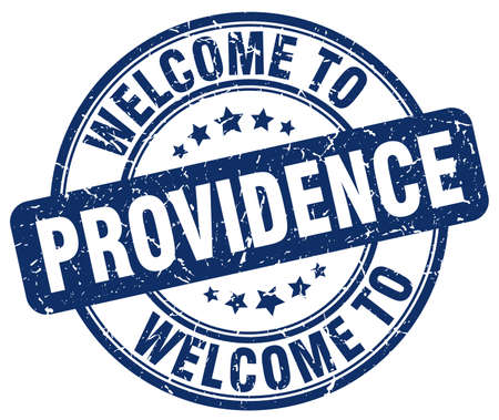 providence: welcome to Providence blue round vintage stamp
