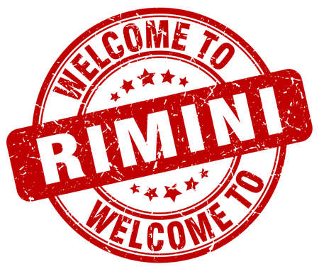 rimini: welcome to Rimini red round vintage stamp