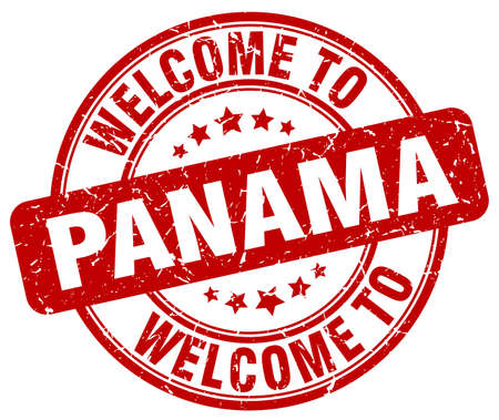 panama: welcome to Panama red round vintage stamp