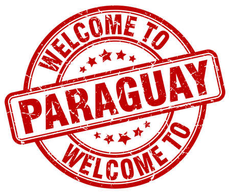 paraguay: welcome to Paraguay red round vintage stamp