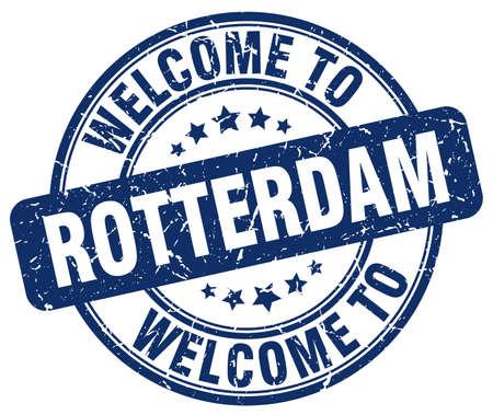 rotterdam: welcome to Rotterdam blue round vintage stamp