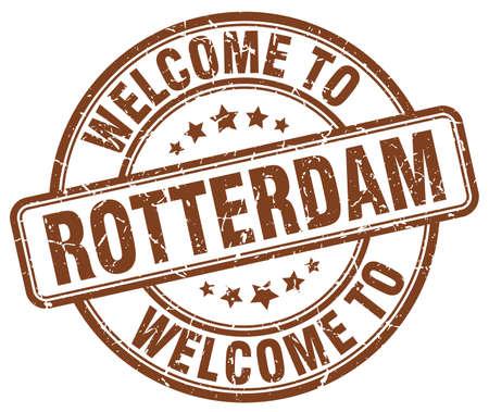 rotterdam: welcome to Rotterdam brown round vintage stamp