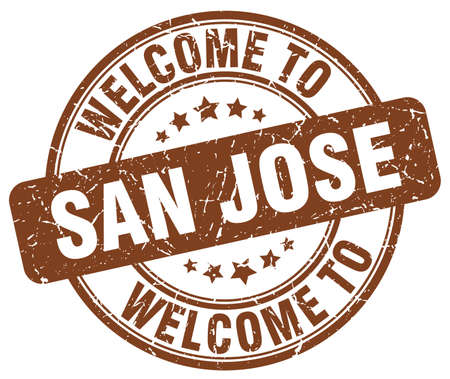 san jose: welcome to San Jose brown round vintage stamp