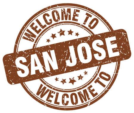 jose: welcome to San Jose brown round vintage stamp