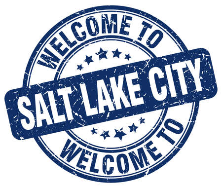 salt lake city: welcome to Salt Lake City blue round vintage stamp Illustration